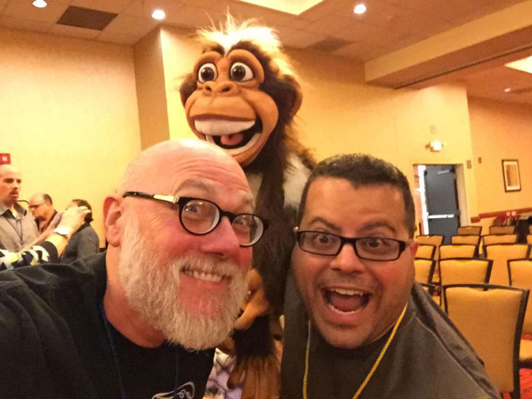 Skunky Munky photo bombs Steve Trash and Jimmy Vee!