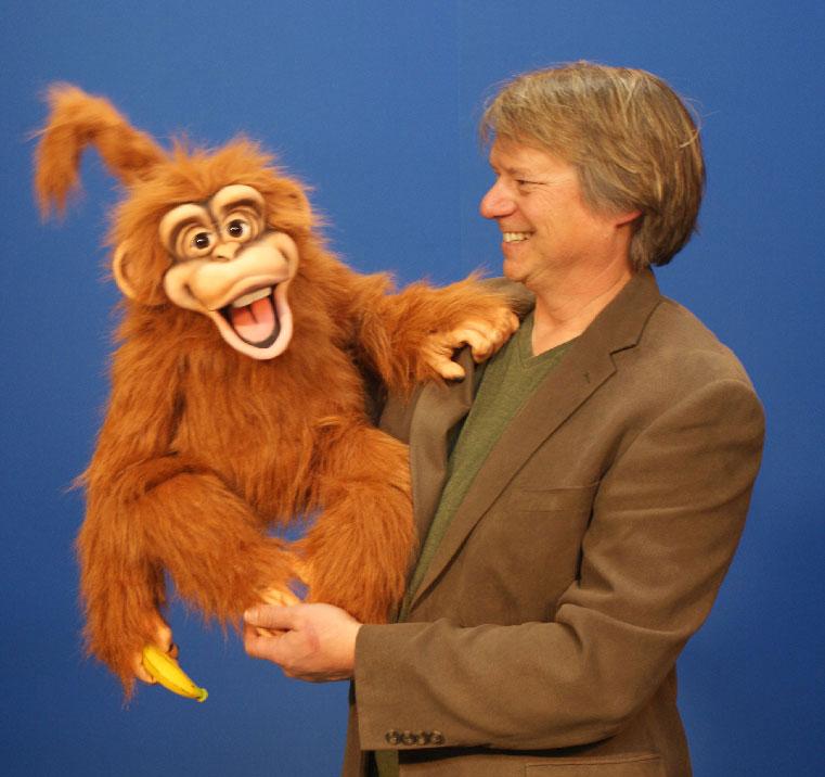 Steve Axtell with Orange Cheeky Monkey