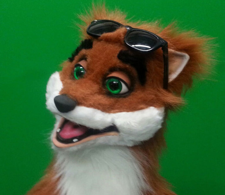 Rocky Fox Puppet glasses up