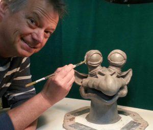 Steve sculpting the alien