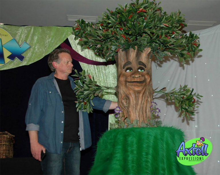 Animatronic Little Tree on Stage with Steve Axtell