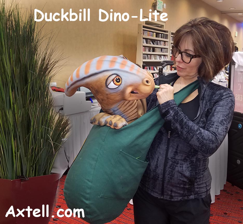 Sylvia Fletcher with the Duckbill Dino-Lite