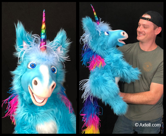 Blue Unicorn Puppet by Axtell Expressions
