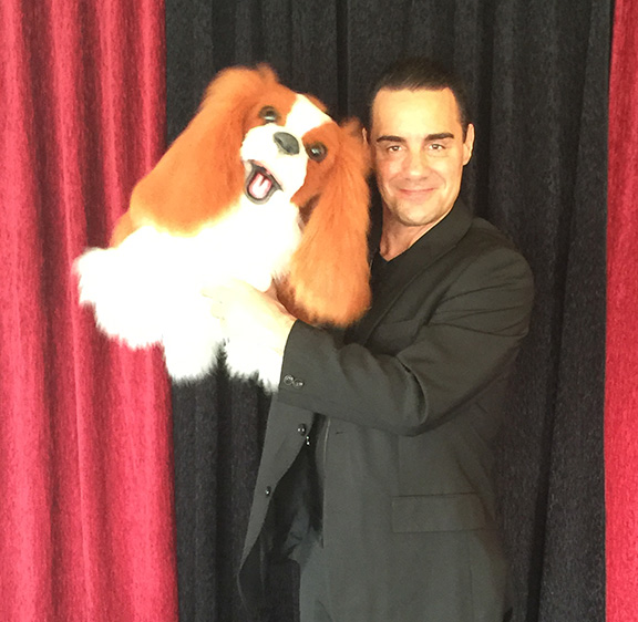 Vincent Pascal with his Cavalier Dog puppet