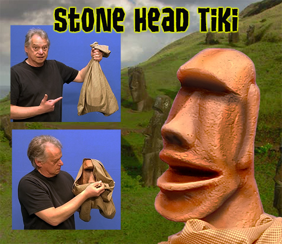 Stone Head Tiki Moai Puppet by Axtell Expressions