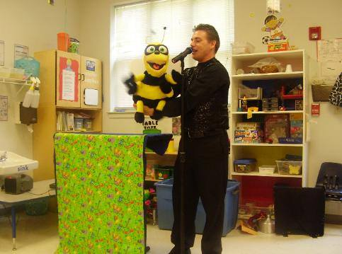 Steve Woyce with the Bee Puppet