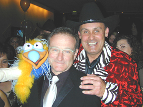 Eric Hilding with a famous comedian and the Axtell Dodo