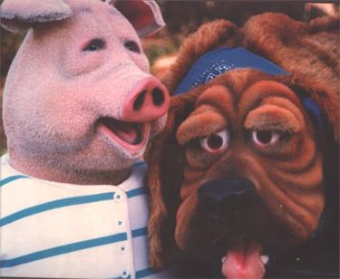 Flocked Pig and Dog