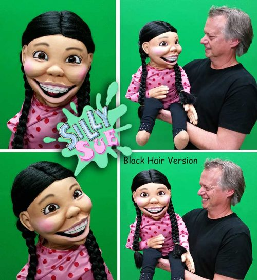 Silly Sue Girl Puppet with Black Hair